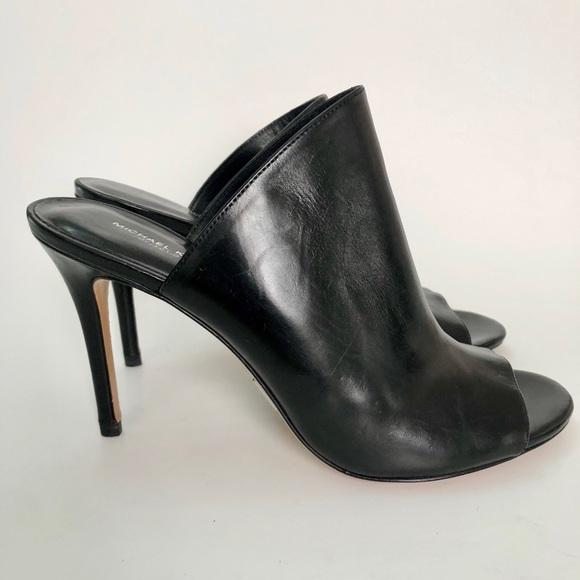 d41d1fd0378 Michael Kors Collection Black Leather Mule Heel